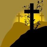 Chrześcijanina krzyż 22 i roślina Zdjęcie Royalty Free