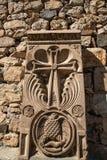 Chrze?cijanina krzy? rze?bi?cy na kamieniu w Armenia obrazy stock
