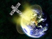 Chrześcijanina przecinający karambolowanie z ziemią zdjęcie stock
