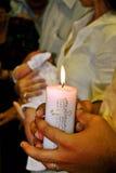 chrzest candle zdjęcie stock