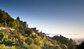 Chateau Castlenaud at dawn Dordogne Perigord Noir France Royalty Free Stock Images