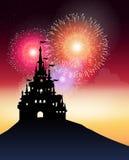 Château avec des travaux du feu Image stock