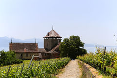 Château de la tour Bertholod, or Bertholod tower in small town of Lutry, Switzerland. Royalty Free Stock Photography