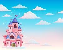 Château rose dans le thème 1 de nuages Photographie stock libre de droits