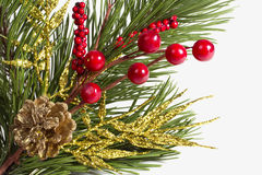 Chtismas decoration. With scpuce, berries and twig in grey background Royalty Free Stock Photos