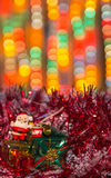 Chtistmas card with blurry colorful lights Stock Images