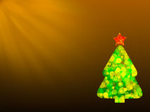 Chtistmas green tree from colorful bokeh with star on the brown gradient background. With rays Royalty Free Stock Photos