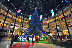 Chtistmas-Vorabend im Einkaufszentrum Stockbilder