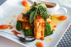 Chu Chee Red curry salmon Royalty Free Stock Photography