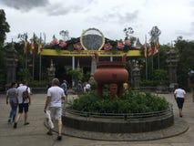 Chua long son. Buddha temple nha Trang Buddhism Vietnam rain sky overcast royalty free stock image