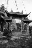 Chua Long Son Temple, Chau Doc, Vietnam. Outside the Chua Long Son Temple in Chau Doc, Vietnam in black and white royalty free stock photography