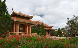 Chua Thien Vuong Pagoda with flowers, Vietn Royalty Free Stock Image