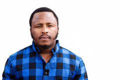 Chubby african american man staring Royalty Free Stock Photography