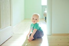 Chubby baby boy. Sitting on wooden floor at home Stock Images