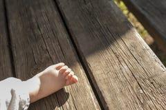 Chubby bare baby feet Stock Photo