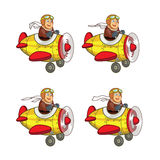 Chubby Boy Pilot Animation Sprite Royaltyfri Foto