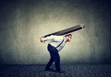 Free Chubby Business Man Struggling To Carry Huge Smartphone Stock Images - 131681084