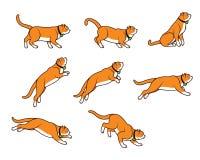 Chubby Cat Jumping Sprite Imagens de Stock