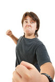 Chubby child kid or boy angry and aggressive in fight gesturing Royalty Free Stock Photos