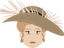 Chubby Faced Woman Wearing Feather Hat Stock Photo
