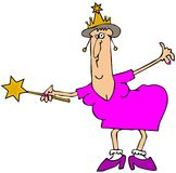 Chubby fairy godmother. This illustration depicts a chubby woman wearing a headpiece and holding a magic wand Stock Photography