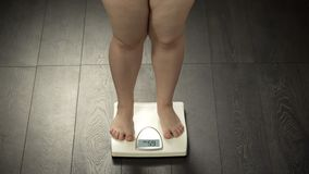 Chubby female standing on scales, checking weight after diet, body control. Stock photo stock photos