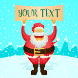 Chubby Funny Santa Claus Holding Sign Royalty Free Stock Photography