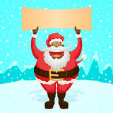 Chubby Funny Santa Claus Holding Sign Stock Image