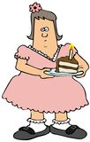 Chubby girl eating birthday cake Royalty Free Stock Image