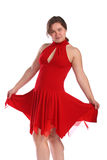 Chubby girl in red dress dancing Stock Photos