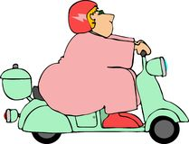 Chubby Girl On A Scooter. This illustration depicts a chubby girl riding a motorized scooter Stock Photos
