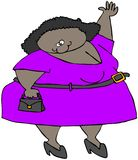 Chubby Girl Waving. This illustration depicts a chubby girl waving with her left arm Royalty Free Stock Photo