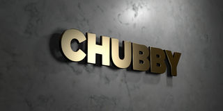 Chubby - Gold sign mounted on glossy marble wall  - 3D rendered royalty free stock illustration Stock Images