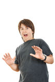 Chubby kid or boy gesturing surprise  holding his hands widespre Royalty Free Stock Images