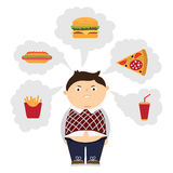 Chubby kid dreaming. Angry chubby kid dreaming of fastfood. Boy with overweight. Isolated cartoon character. Wish in clouds Stock Image