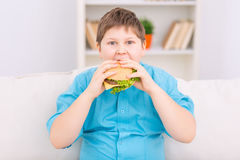 Chubby kid is eating a burger. Huge cheeseburger. Chubby boy is taking a big bite off huge burger Stock Photos