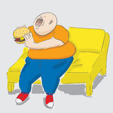 Chubby kid. A chubby kid eating hamburger. EPS10  illustration Stock Photo