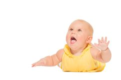 Chubby laughing baby laying on the belly alone Royalty Free Stock Image