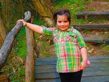 A chubby little girl on a wooden bridge royalty free stock images