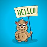 Chubby little hamster. signboard, billboard that says Hello Stock Image