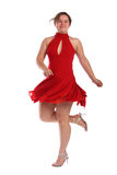 Chubby Mädchen im roten Kleidtanzen Lizenzfreie Stockbilder