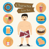Chubby man character Icon set vector Royalty Free Stock Images