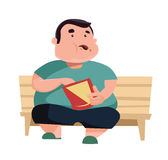 Chubby man eating and sitting  illustration cartoon character. Enjoy Stock Photography