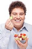 Chubby man with fresh salad Royalty Free Stock Photo