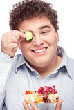 Chubby man with fresh salad Stock Photography