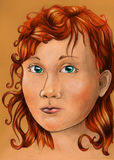 Chubby redhead girl. Hand drawn pencil sketch of a chubby girl with curly red hair Royalty Free Stock Image