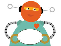 Chubby Robot Holding Blank Oval Sign. Happy Fat Robot gripping empty round sign vector illustration Royalty Free Stock Photo