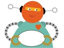 Chubby Roboter, der unbelegtes ovales Zeichen anhält Lizenzfreies Stockfoto