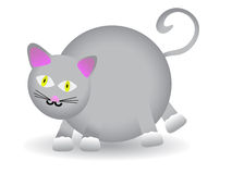 Chubby Round Gray Cat VECTOR. Overweight stylized cat in motion Royalty Free Stock Images