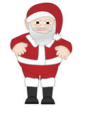 Chubby Santa Claus stands alone. Saint Nicholas wearing outfit, boots and hat Stock Photography